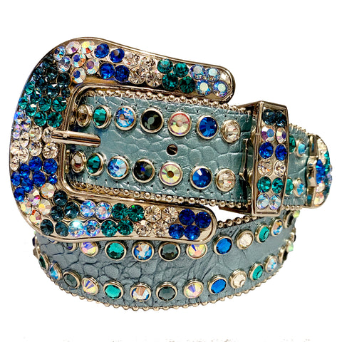 B.B Simon Light Blue Leather Belt with 2 Rows Multi Color Crystals