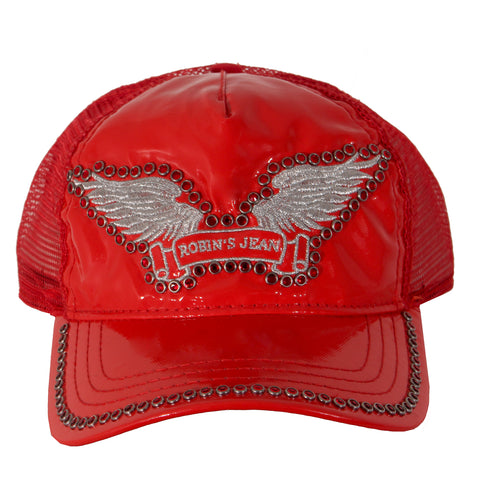 Robin's Jean Patent Leather Trucker Cap with Red and Black Crystals