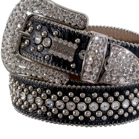 B.B Simon Belt with Single Row Crystal and Round Silver Parachutes