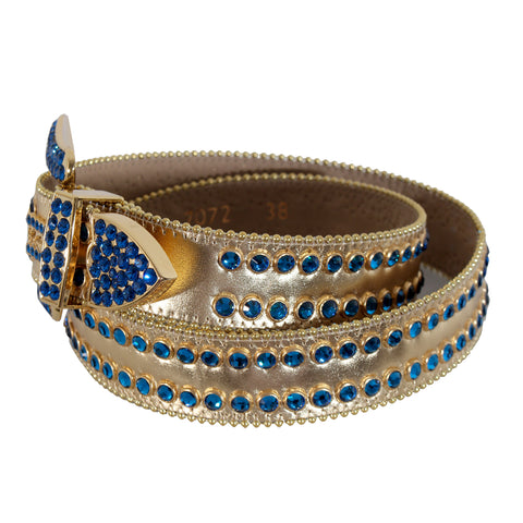 B.B Simon Gold Leather Belt with 2 Rows Blue Crystals