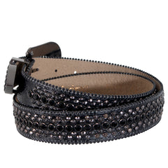 B.B Simon All Black Belt with Black Single Row Crystal and Pewter Spikes