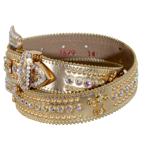 B.B Simon Gold Leather Belt with Gold Crystal 1 Row and Embellishments
