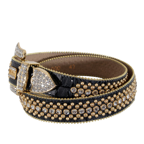 B.B Simon Black Leather Belt with Gold Studs and Clear Single Row