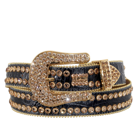 B.B Simon Black Leather Belt with 2 Rows Gold Crystals