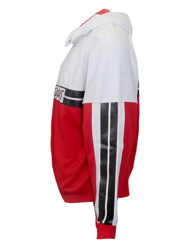 Men's Long Sleeve Gym Hoodie-Red and White