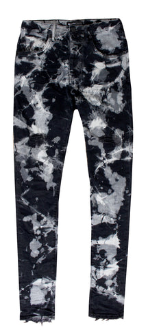 Men's Black Marble Bleach Denim