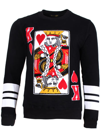 Men's Long Sleeve Suicide King Sweater in Black