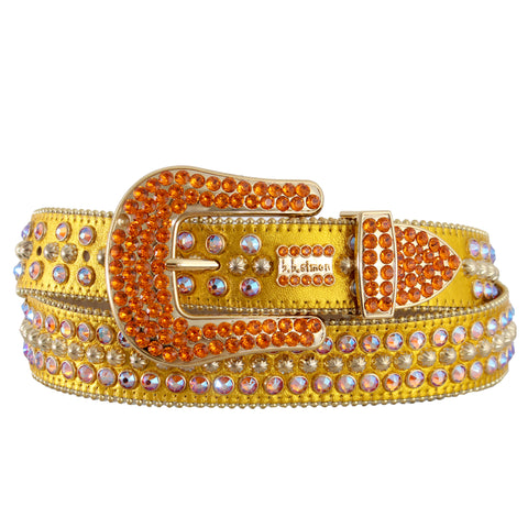 B.B Simon Gold Metallic Leather Belt with Iridescent Crystals