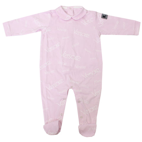 Baby Girl Collared Footie With Logo Print-Pink
