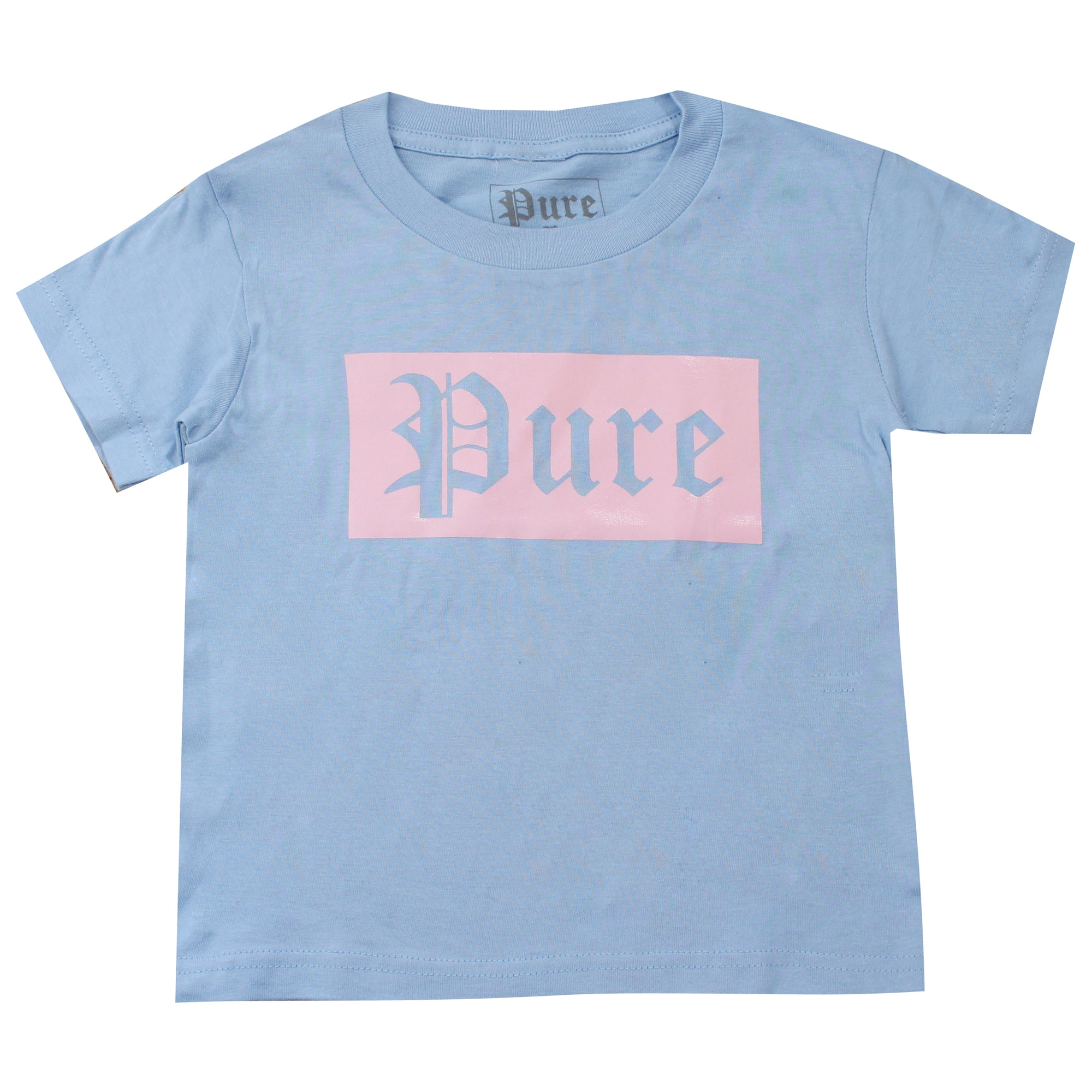 Kids Pure Tee Shirt with Pink Block Logo
