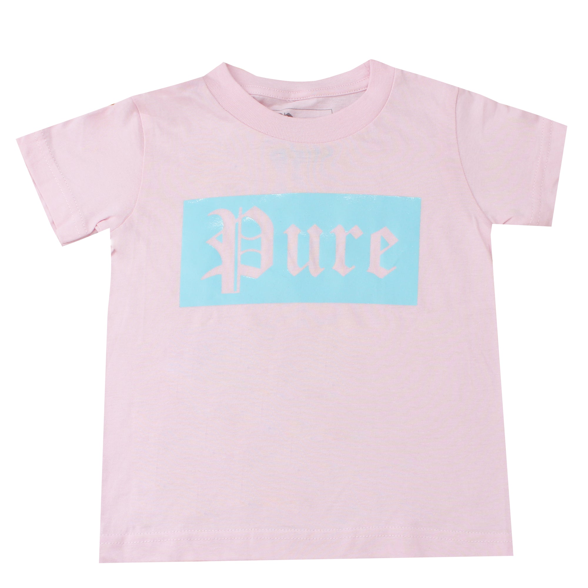 Kids Pure Tee Shirt with Blue Block Logo