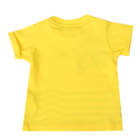 Baby Boy Short Sleeve BMAS Jersey Stretch Tee Shirt-Yellow
