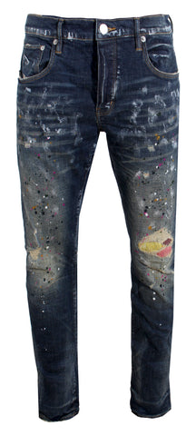 Men's Purple Multi Color Repair Stitch Denim