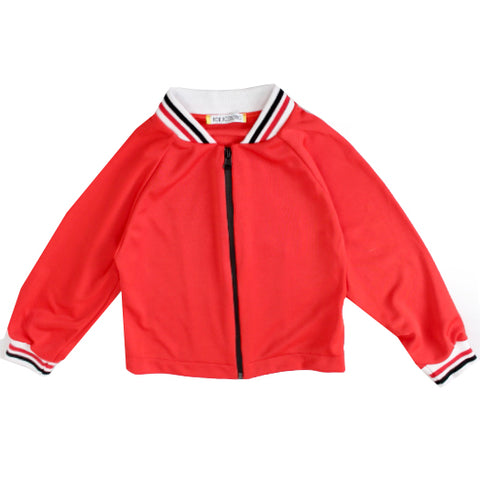 Girls Long Sleeve Zip closure Track Jacket-Red