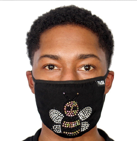 FASK Black Bee Cotton 2.0 Stoned Mask with Interchangeable Filter and Adjustable Size Strap-Black