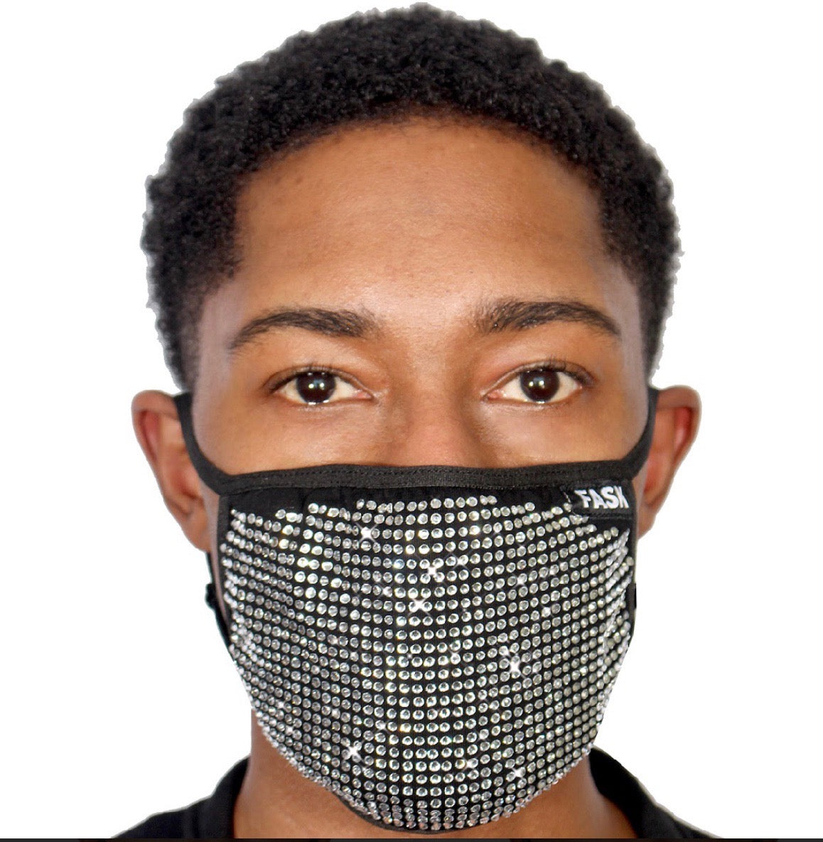 FASK Full Stoned Cotton 2.0 Stoned Mask with Interchangeable Filter and Adjustable Size Strap-Black