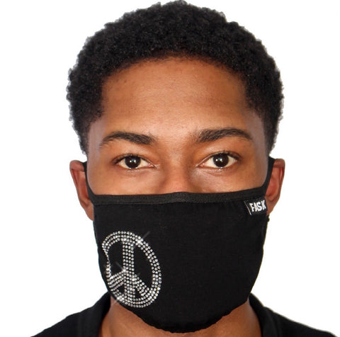 FASK Peace Cotton 2.0 Stoned Mask with Interchangeable Filter and Adjustable Size Strap-Black