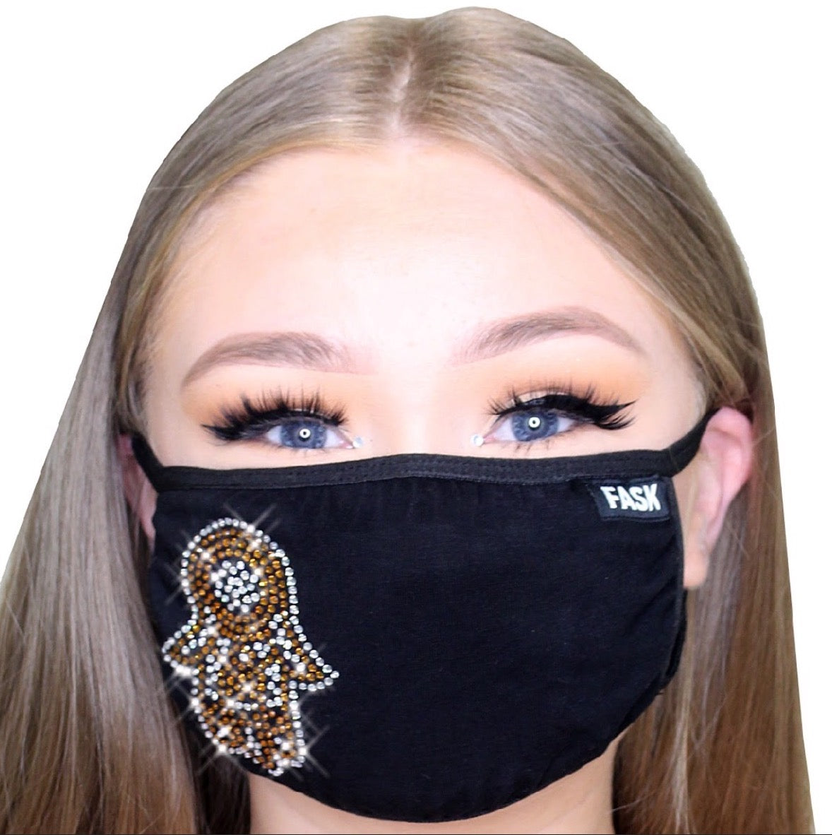 FASK Hamsa Cotton 2.0 Stoned Mask with Interchangeable Filter and Adjustable Size Strap