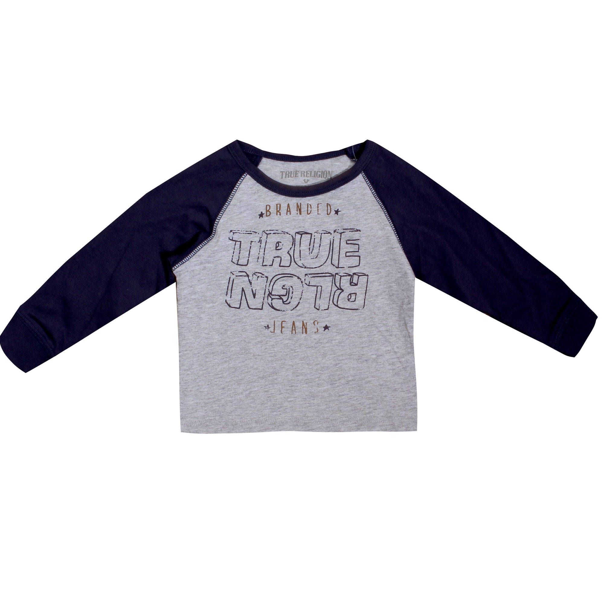 Kids True Religion Long Sleeve Boys Grey Tee with Navy Sleeves