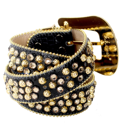 B.B Simon Black and Gold Leather Belt