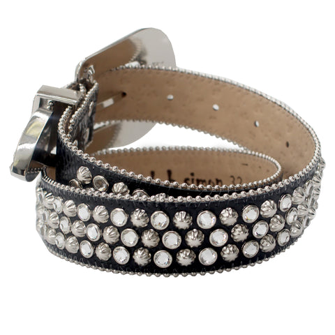 Men's Belt with Swarovski Elements-Black