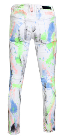 Men's Kiki Biker Denim-White Neon