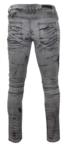 Men's Gwyn Biker Denim-Light Gray