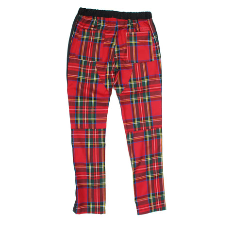 Elliot Plaid Track Pants-Red
