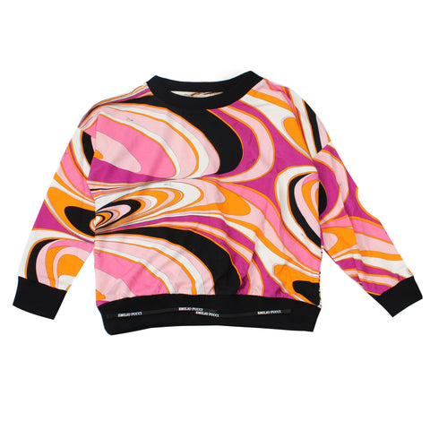 Girls Long Sleeve Wave Print Top-Fuschia