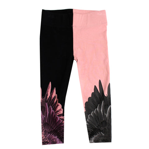 Girls Wing Leggings-Black and Pink