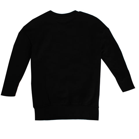 Boys Long Sleeve Tiger Print Crewneck-Black