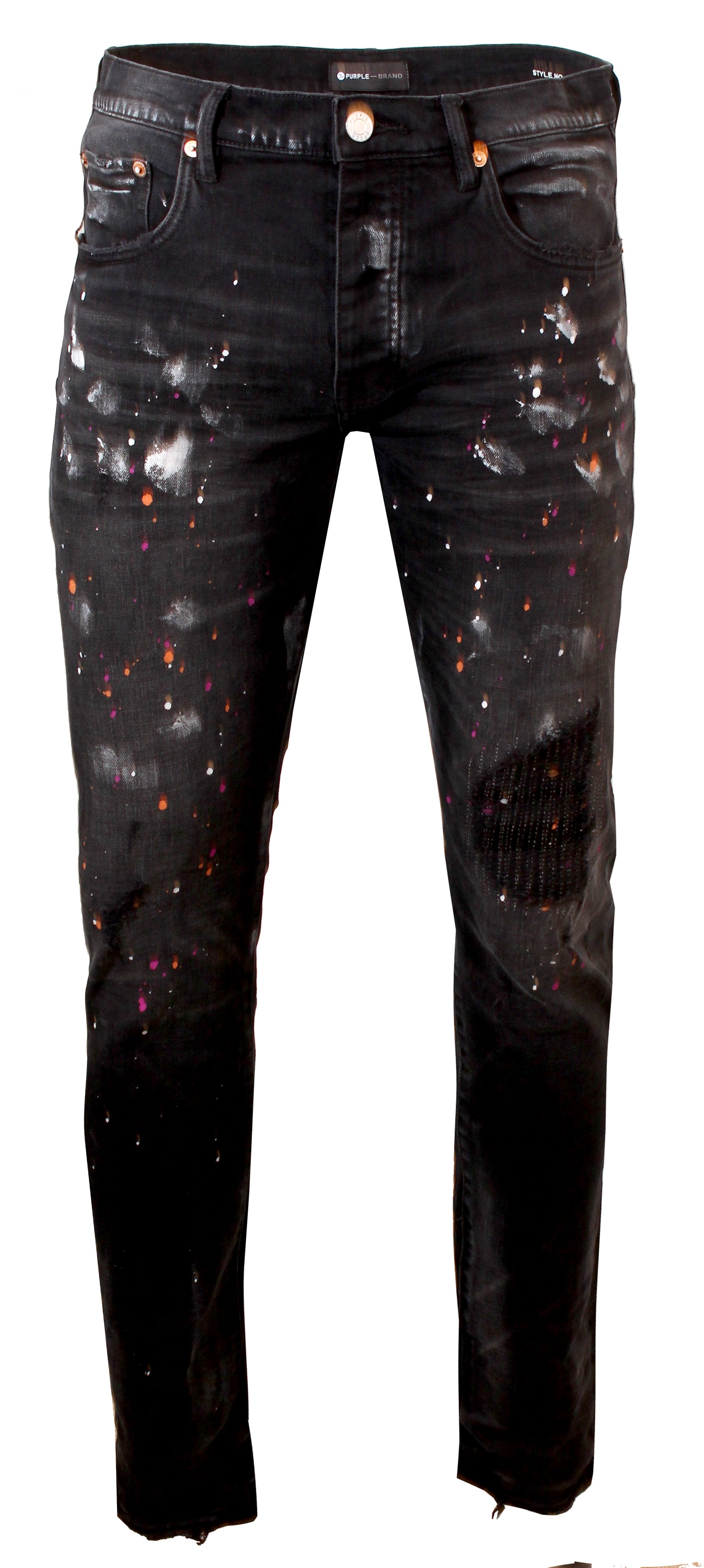 Black Multicolor Paint Repair Jeans