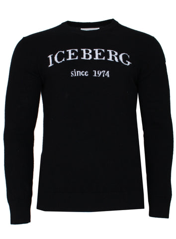 Men's Cashmere Logo Sweater-Black