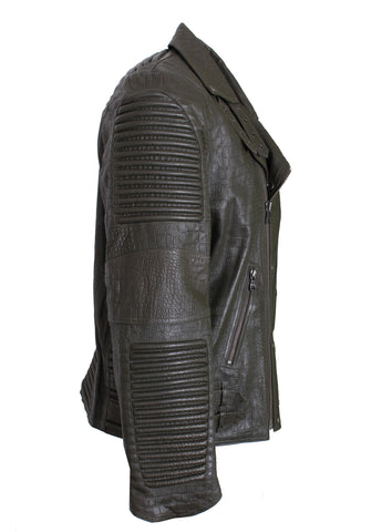 Men's Reptile Moto Leather Jacket-Olive