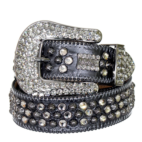 B.B Simon Belt-Pewter Parachutes with Clear Crystals