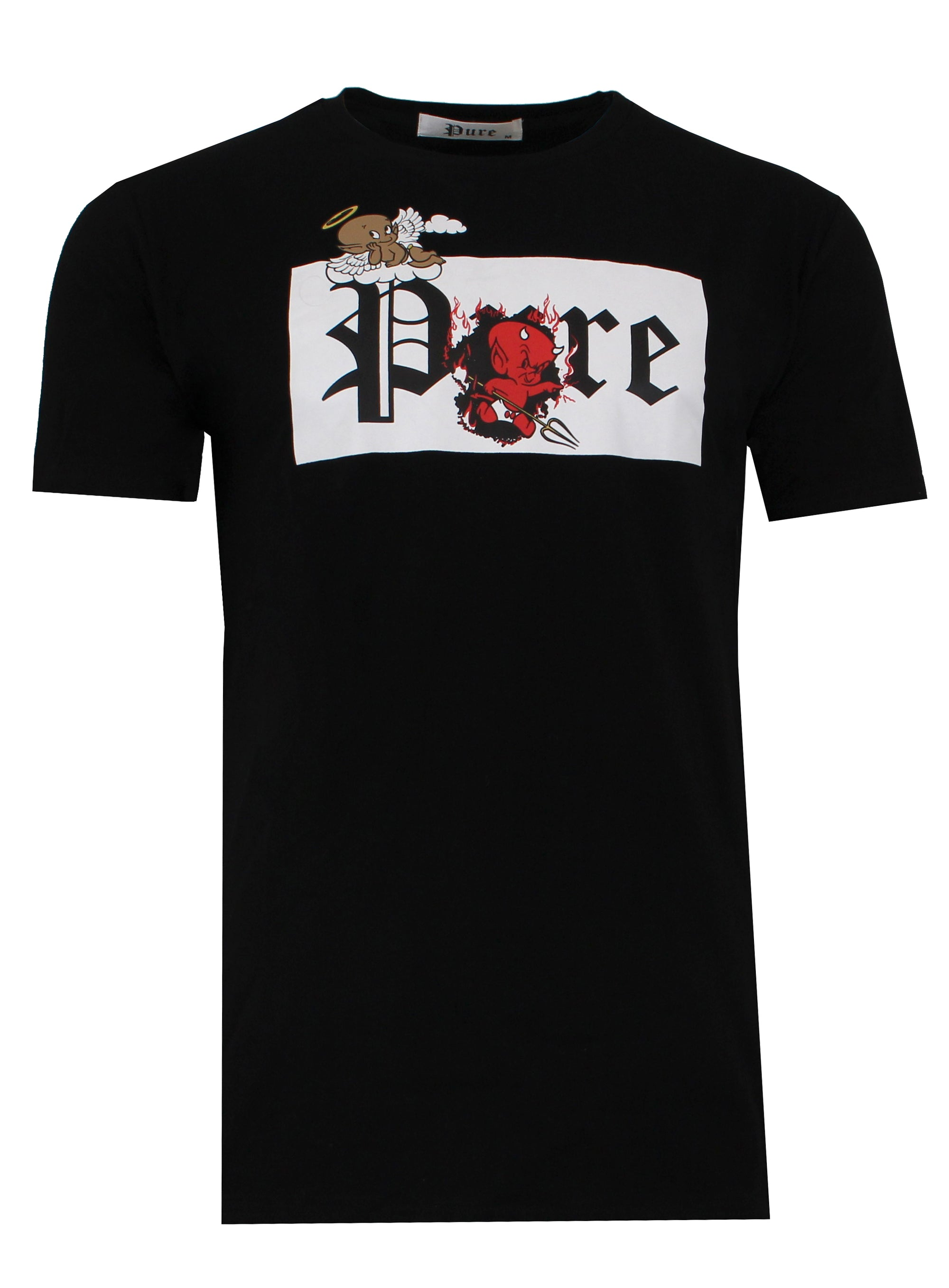 New 2021 Pure Tee with White Block Devil and Angel