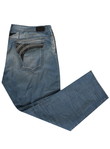 Men's Denim with 2 row Clear Crystals and Black crystals