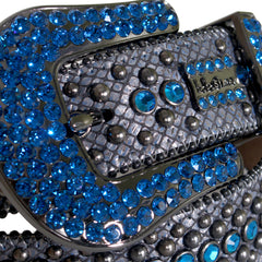 B.B Simon Belt Black with Blue Crystals