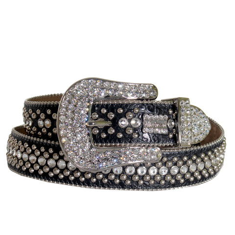 B.B Simon Belt with Single Row Crystal and Round Pewter Parachutes