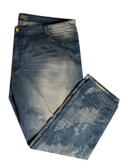 Men's Med Denim with Full Flap Gold Rim and Clear Crystal
