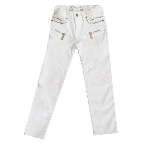 Kids Robins with Single Line Back Pocket-White