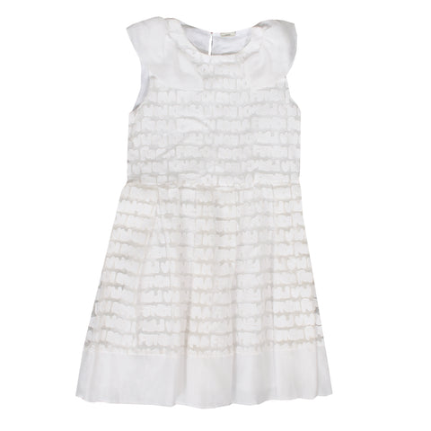 Girls Fendi Logo Lace Dress-White