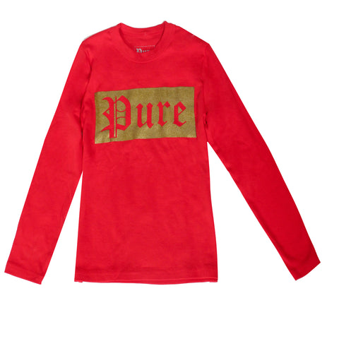 Kids Pure Block Logo Long Sleeve Tee-Red