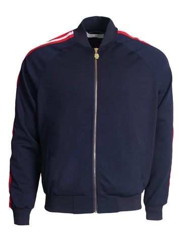 Men's Long Sleeve Track Jacket with Side Stripes-Navy