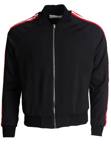 Men's Long Sleeve Track Jacket with Side Stripes-Black