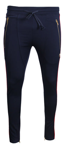 Men's Track Pants with Side Stripes Details-Navy