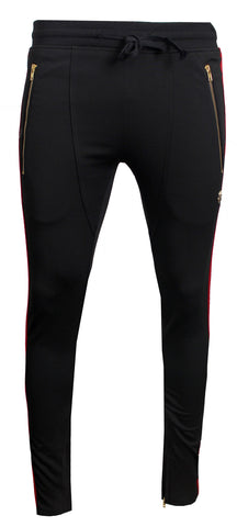 Men's Track Pants with Side Stripes Details-Black