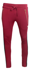Men's Track Pants with Side Stripes Details-Burgundy
