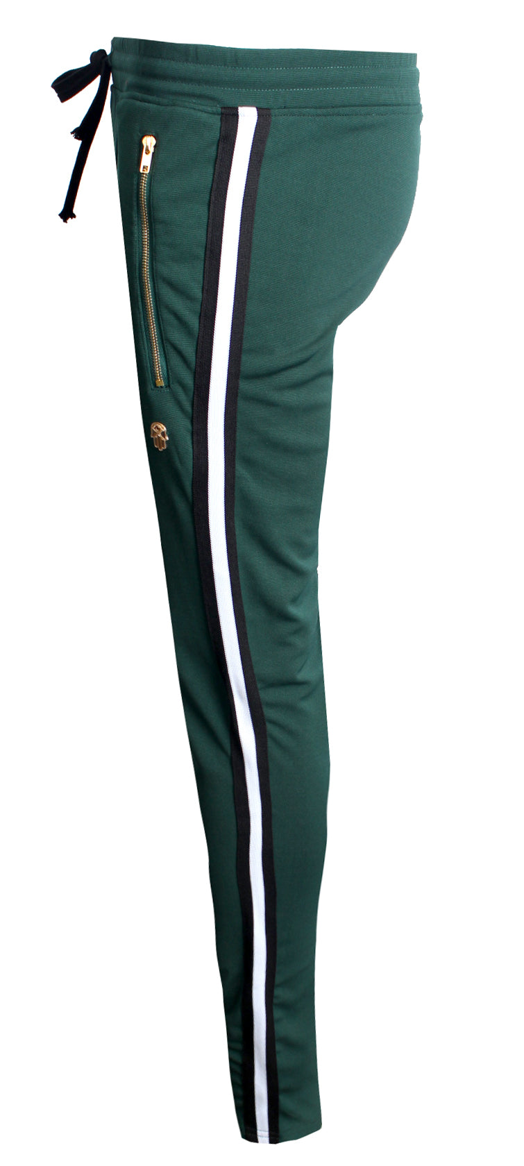 Men's Track Pants with Side Stripes Details-Green