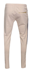 Men's Track Pants with Side Stripes Details-Cream